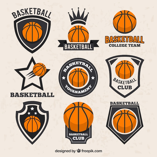 ヴィンテージスタイルでバスケットボールのステッカーのコレクション 無料ベクター