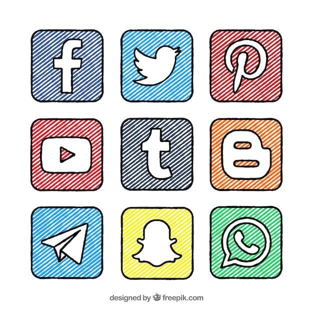 Ручной росписью квадраты и логотипы сбора социальных сетей Бесплатные векторы