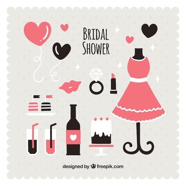 フラットなデザインの黒とピンクの結婚式のアクセサリー 無料ベクター
