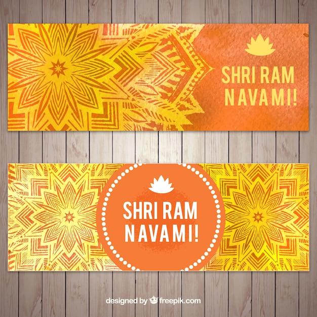 Декоративные баннеры в оранжевых и желтых тонах для рамнавами Бесплатные векторы