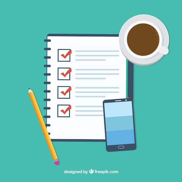 チェックリスト、コーヒーカップや携帯電話とフラット背景 無料ベクター