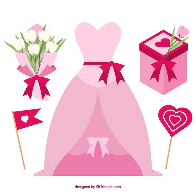 ピンクの結婚式の要素のフラットコレクション 無料ベクター