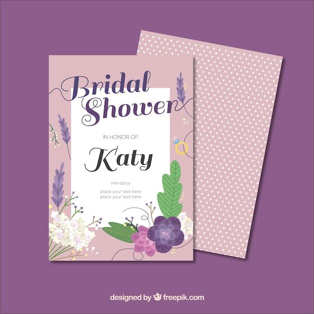 フラットなデザインの花とブライダルシャワーの招待状テンプレート 無料ベクター