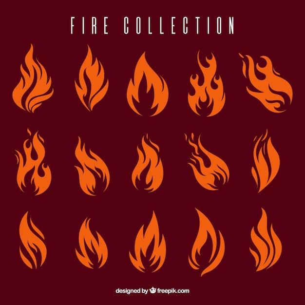 Коллекция огонь Бесплатные векторы