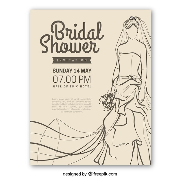 花嫁とヴィンテージブライダルシャワーの招待状 無料ベクター