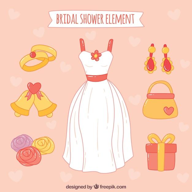 ウェディングドレスやその他の装飾品と手描きパック 無料ベクター