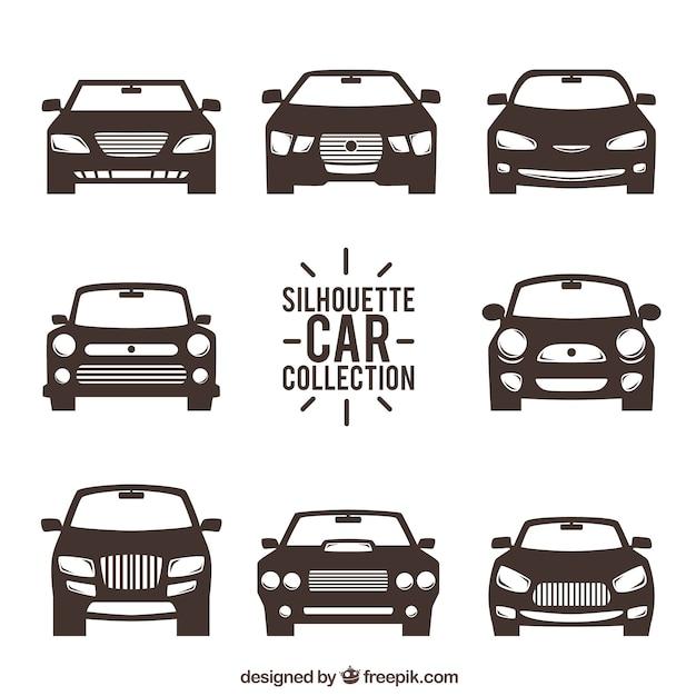 Вид спереди силуэты автомобилей Бесплатные векторы