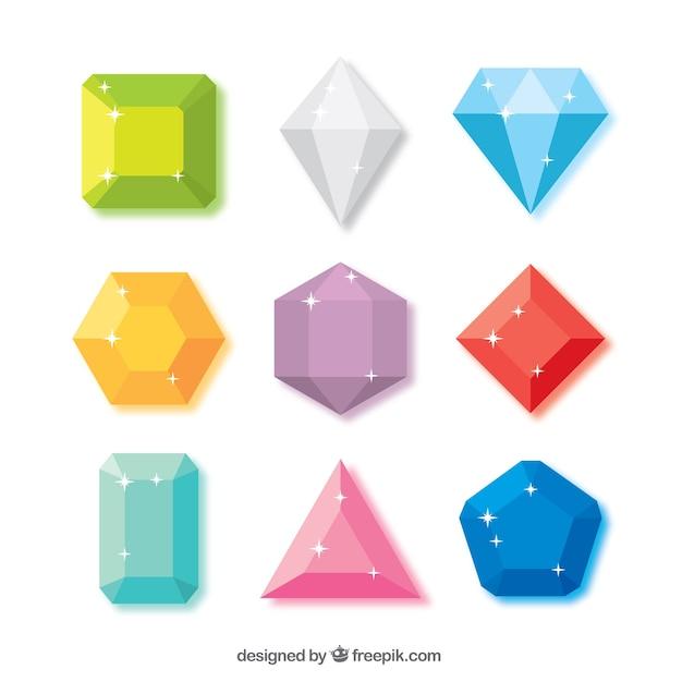 ブリリアントカットのダイヤモンドのコレクション 無料ベクター