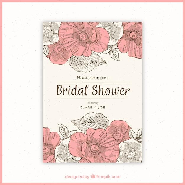 ヴィンテージスタイルで花ブライダルシャワーの招待状 無料ベクター