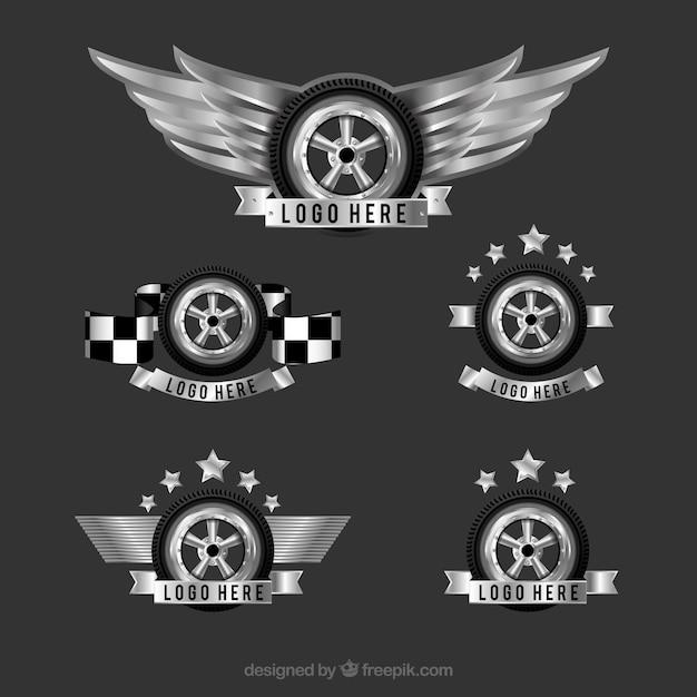 Логотипы с декоративными колесами в реалистичном дизайне Бесплатные векторы
