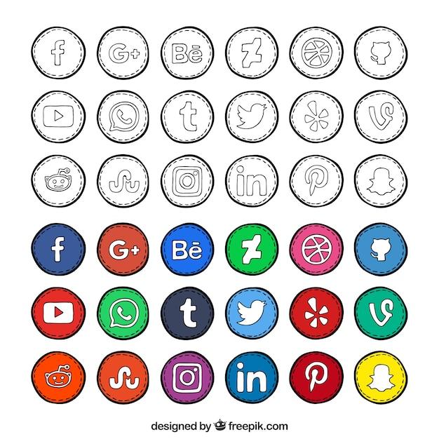 手描きのソーシャルネットワークのアイコン集 無料ベクター