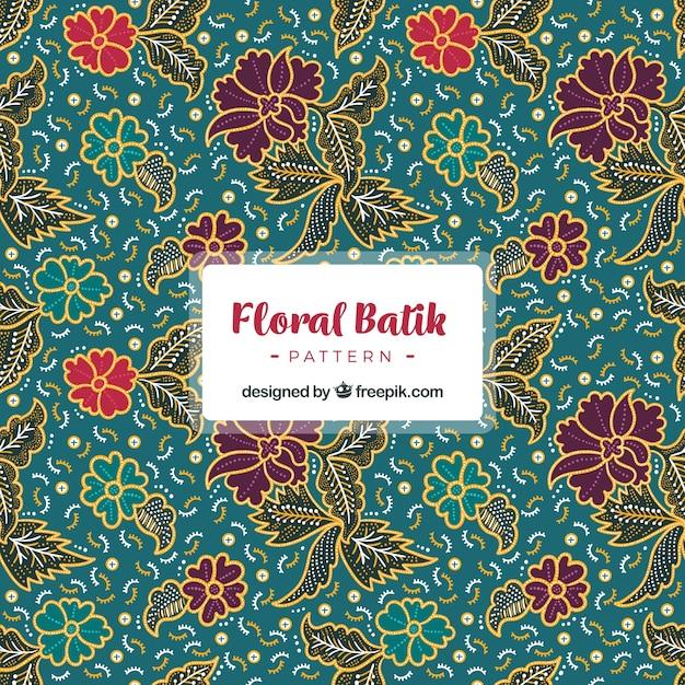 ヴィンテージバティック花で装飾的なパターン 無料ベクター