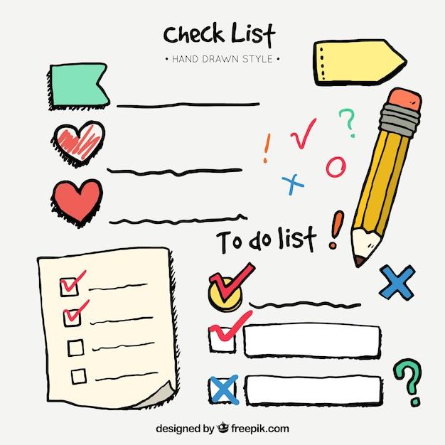 チェックリストや装飾的な要素の手描きセット 無料ベクター
