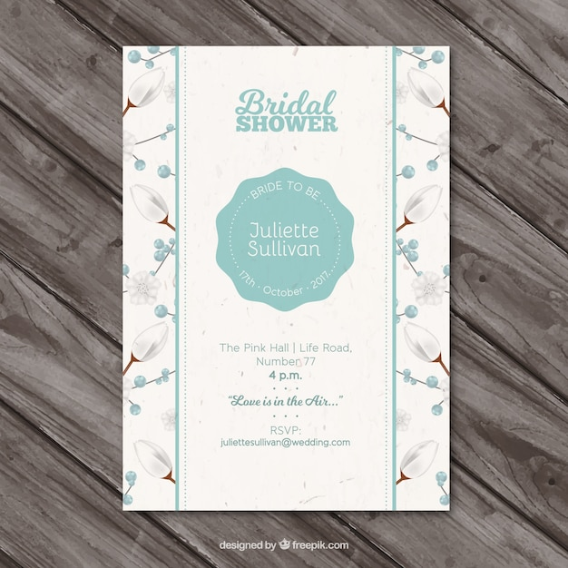 現実的なデザインの花ブライダルシャワーの招待状 無料ベクター