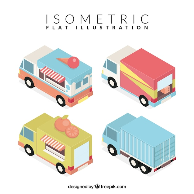 Изометрические грузовики для различного бизнеса Бесплатные векторы