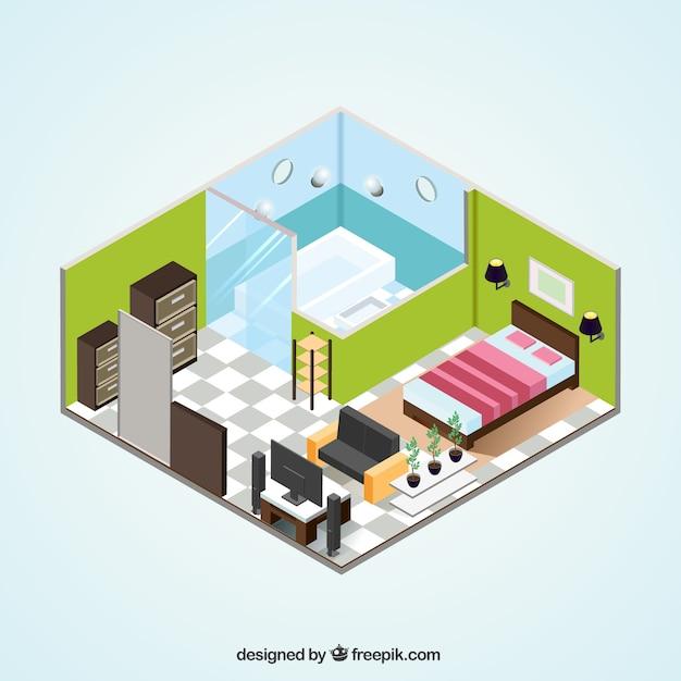 アイソメトリックデザインのアパートインテリア 無料ベクター
