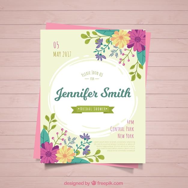 色の花とかわいいブライダルシャワーの招待状 無料ベクター