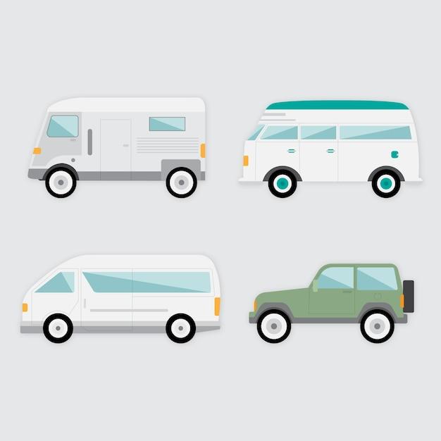 Разнообразие транспортных средств в плоской конструкции Бесплатные векторы