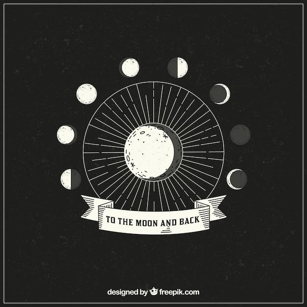 月相の手描かれた背景 無料ベクター
