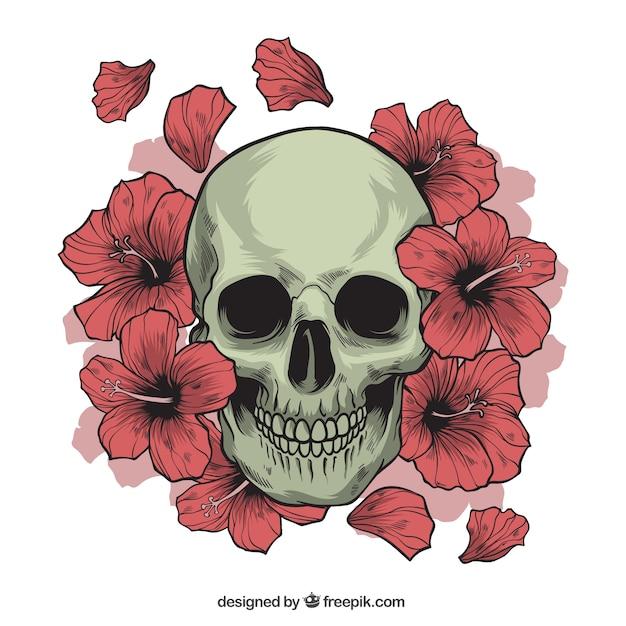 手描きの花とスカル 無料ベクター