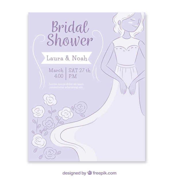 花嫁と花の飾りのついた独身招待 無料ベクター