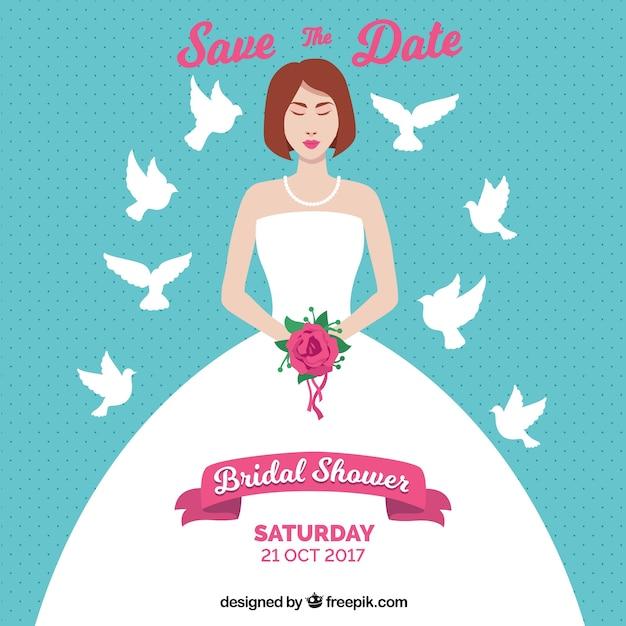 花嫁と鳩とブライダルシャワーの招待状 無料ベクター
