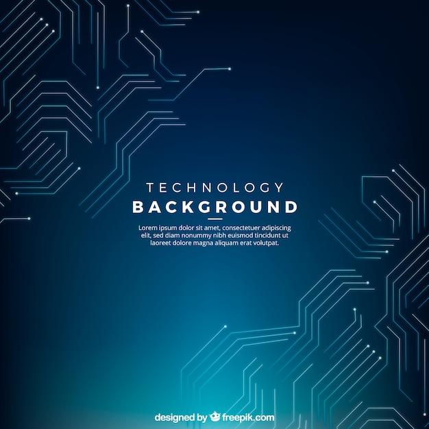 技術の回路とダークブルーの背景 無料ベクター
