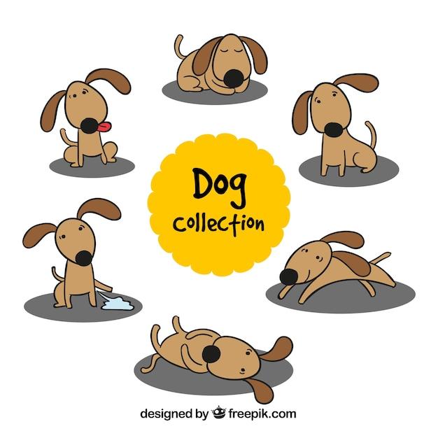 異なる姿勢での手描き犬 無料ベクター