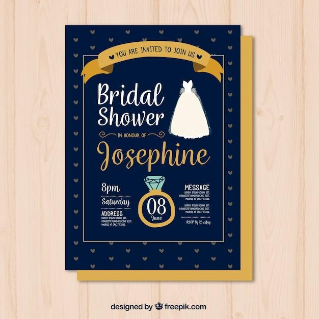 リングやドレスと手描きのブライダルシャワーの招待状 無料ベクター