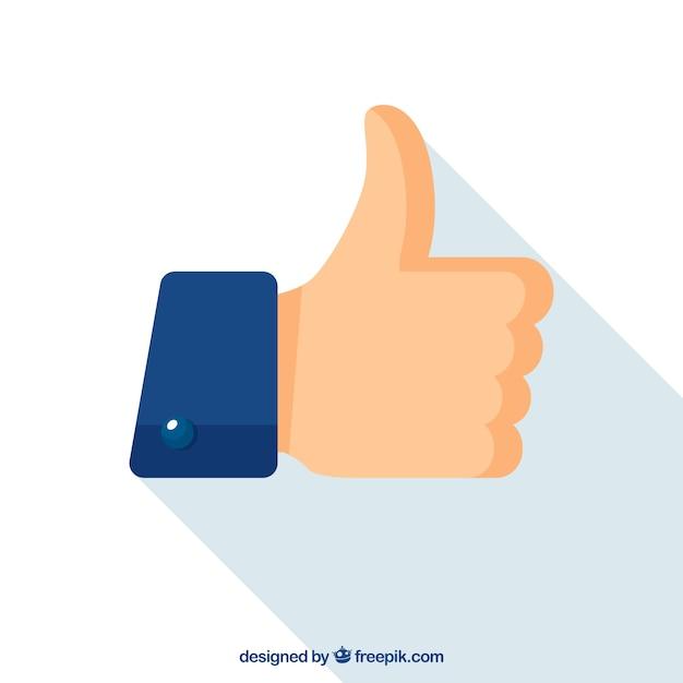 フラットなデザインの装飾親指アップ 無料ベクター