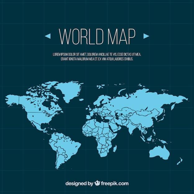フラットデザインのブルーワールドマップ 無料ベクター