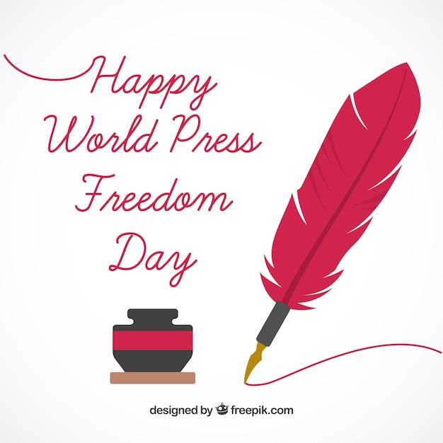 Фон с чернильницей и пером всемирного дня свободы прессы Бесплатные векторы