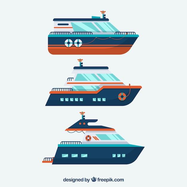 Пакет из трех лодок в плоской конструкции Бесплатные векторы