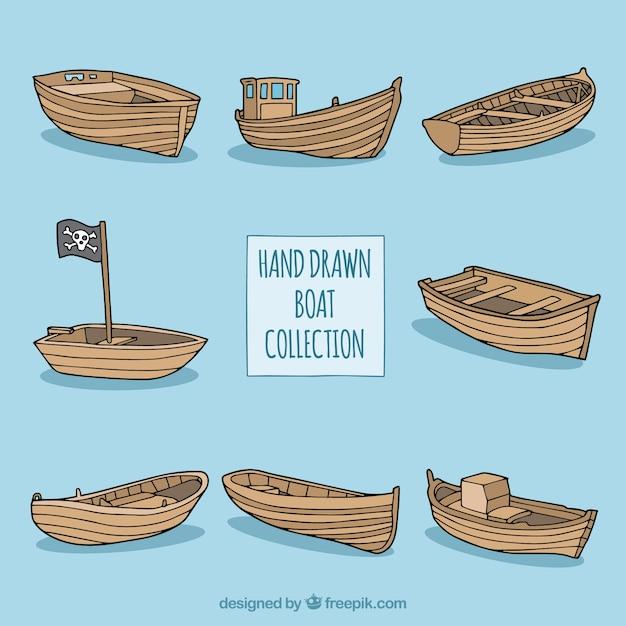 手描きの木製ボートのコレクション 無料ベクター