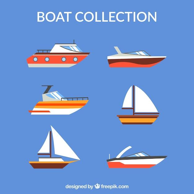 Коллекция лодок в плоской конструкции Бесплатные векторы