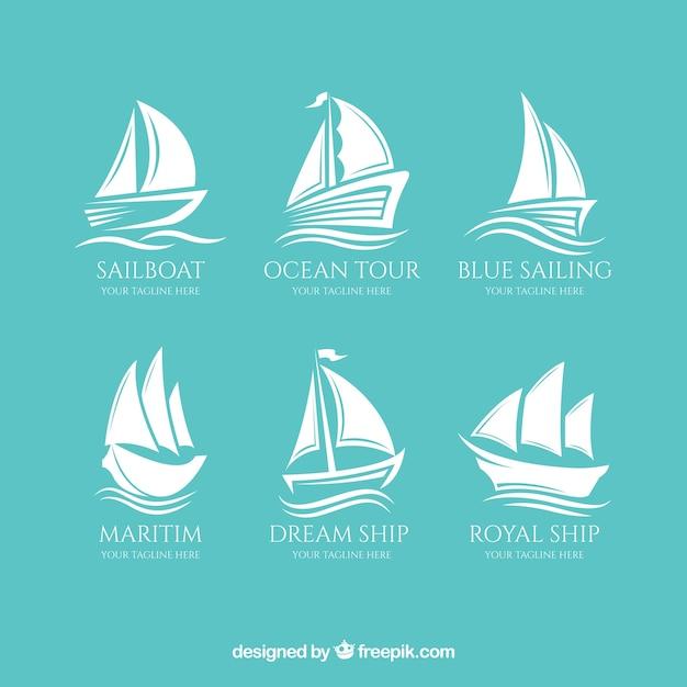 素晴らしいボートのロゴのコレクション 無料ベクター