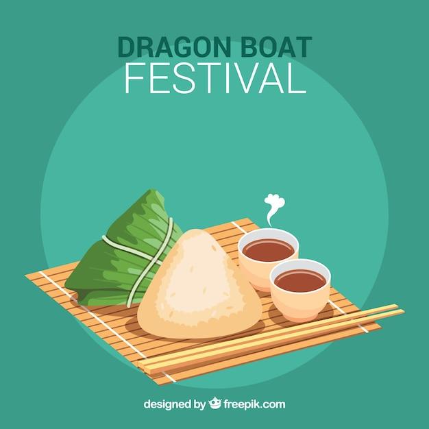 伝統的な龍の祭典の食事の背景 無料ベクター
