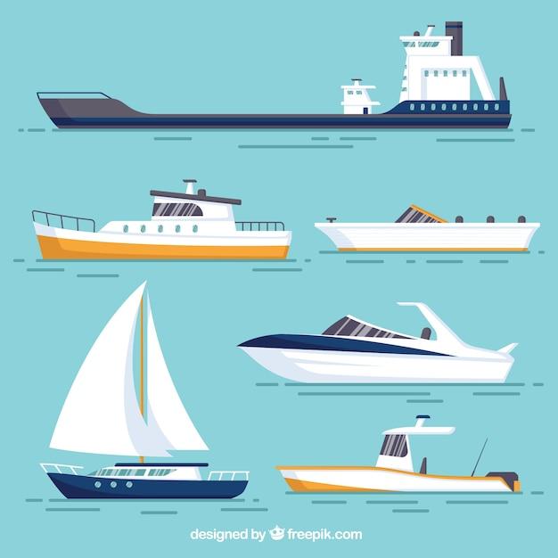 異なるデザインの様々なボート 無料ベクター