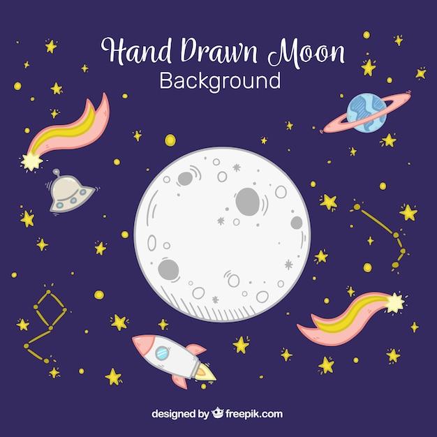 Луна фон с падающими звездами и ракеты в рисованной стиль Бесплатные векторы