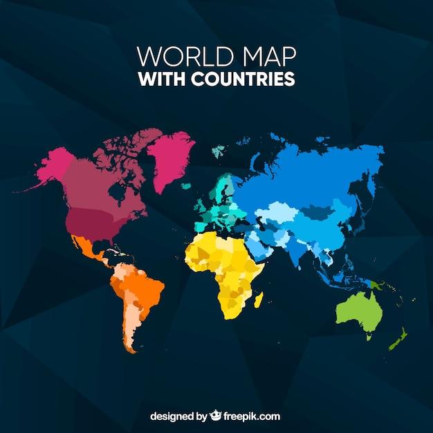 カラフルな世界地図 無料ベクター