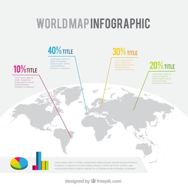 Шаблон инфографической карты мира Бесплатные векторы
