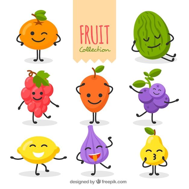 面白いフルーツキャラクターのセット 無料ベクター