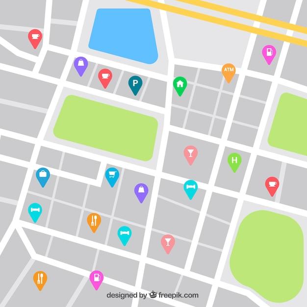 Карта улиц с булавками для общественного питания Бесплатные векторы