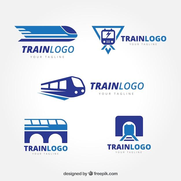 Набор логотипов поездов Бесплатные векторы