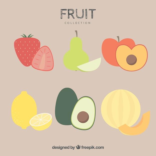 Плоский набор вкусных фруктов Бесплатные векторы