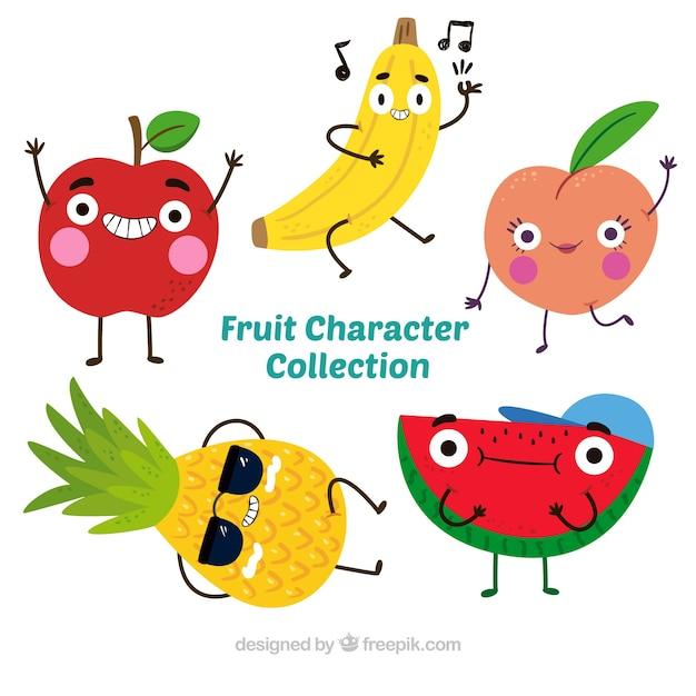 Довольно пакет из пяти персонажей фруктов Бесплатные векторы