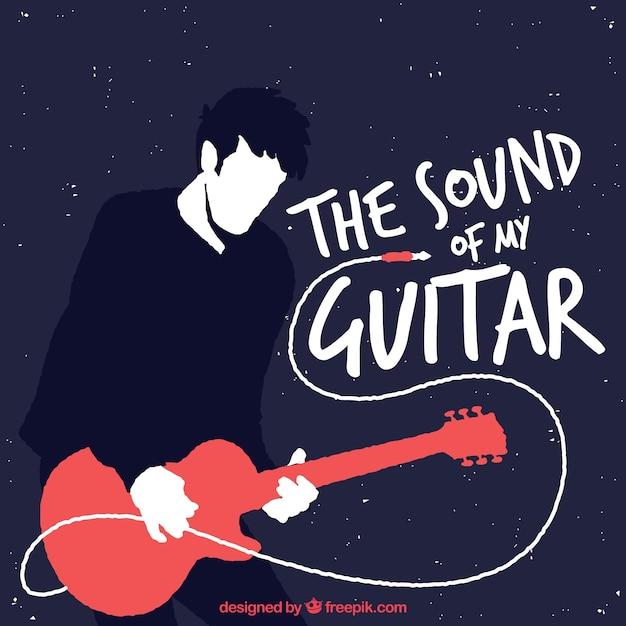 フラットデザインのギタリストの背景 無料ベクター