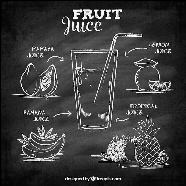 ジュースの果物と黒板の背景 無料ベクター