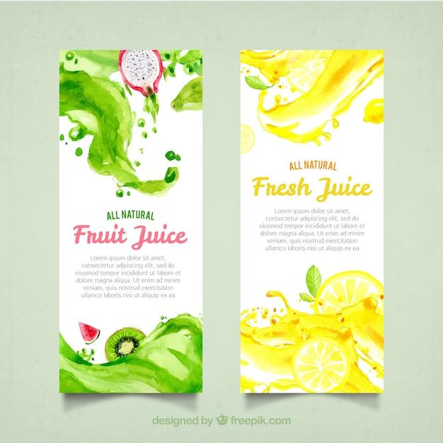 フルーツジュースの水彩画のバナー 無料ベクター