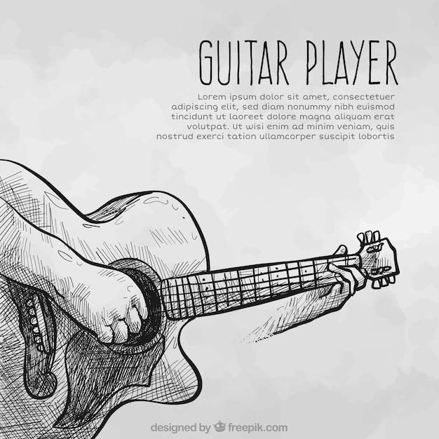 ギターラスケッチの背景 無料ベクター